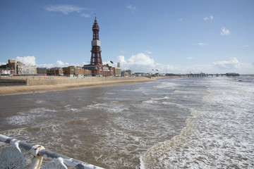 Blackpool seafront seen from North Pier England UK