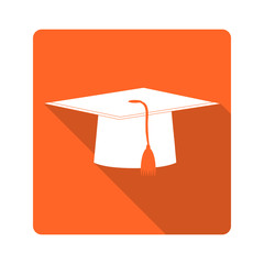 Flat design icon. Graduate hat