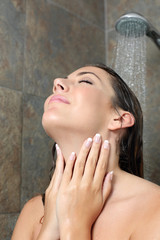 Beauty woman with french manicure showering