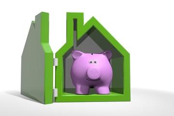 Spaar hypotheek - spaarvarken in groene woning