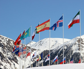 flags on a background of mountains