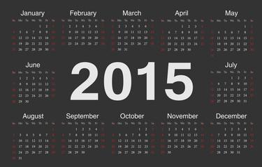 Vector black circle calendar 2015