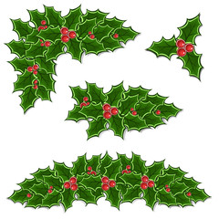christmas holly decoration set
