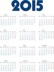 International calendar of 2015 year