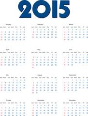 English calendar of 2015 year