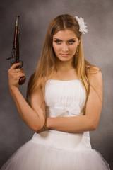 bride with a pistol