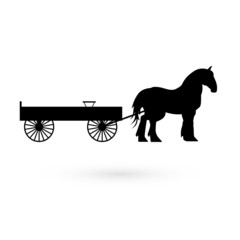 Horse with cart. Raster