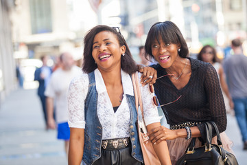 Two Beautiful Black Woman Walking in New York