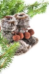 Winter boots with christmas tree