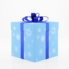 Geschenk zu Weihnachten mit Schneeflocken