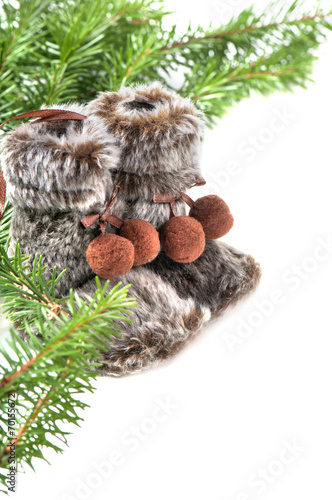 canvas print picture Winter boots with christmas tree
