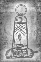 alte Öllampe, Skizze