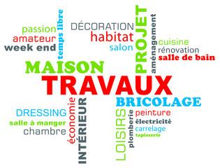 Travaux, bricolage, décoration, nuage de mots  ou tags