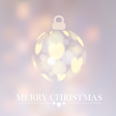 Christmas background with christmas ball, bokeh lights, vector