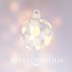 Christmas background with christmas ball, bokeh lights, vector