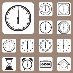 Vector Illustration, Set of Clock Icon for Design and Creative W