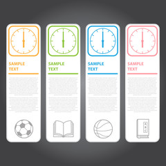 Vector Illustration, Modern Clock Banner for Design and Creative