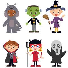 ハロウィン仮装をした子供たち