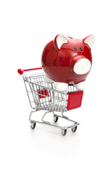 Shopping cart and Red Piggy Bank
