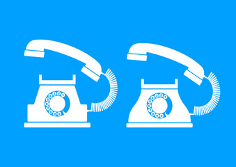 White telephone icons on blue background