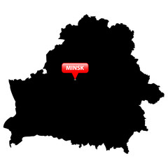 Map with the Capital in a red bubble - Belarus.