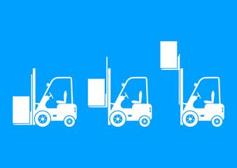 White forklift icons on blue background