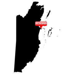 Map with the Capital in a red bubble - Belmopan;.