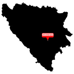 Map with the Capital in a red bubble - Bosnia & Herzegovina.