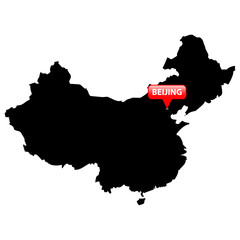 Map with the Capital in a red bubble - China.