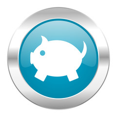 piggy bank internet blue icon