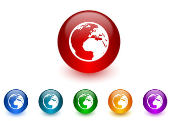 earth internet icons colorful set