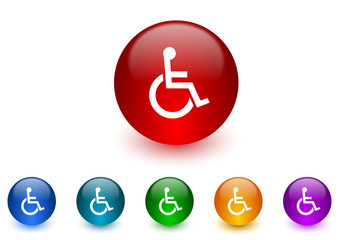 wheelchair internet icons colorful set
