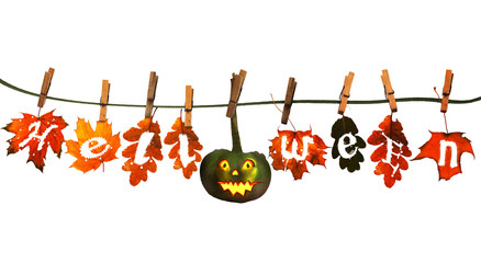 Funny halloween pumpkin, hanging on a rope with colorful autumn
