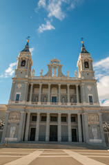 Facade of Almudena Cathedral in Madrid Spain
