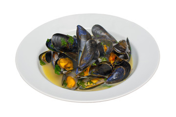 Moules Mariniere in a White Bowl