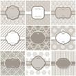 Elegant frame on pattern set in pastel beige.