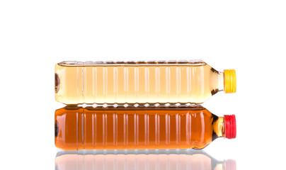 Two bottles of sunflower oil.