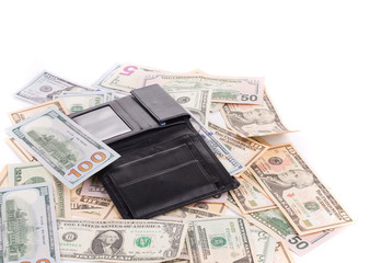 Close up of dollar bills and purse.