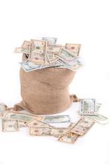 Full sack with dollar bills.