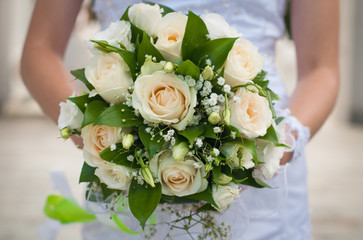 Beautiful bridal bouquet being held by a bride on wedding day