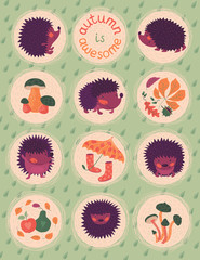 Autumn Poster With Hedgehogs