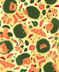 Autumn Pattern With Hedgehogs