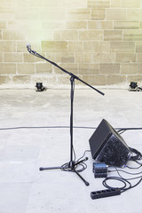 Microphone and speakers at a conference