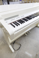 White piano on stage