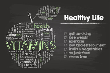 Healthy Life Steps Graphic With Vitamins Wordcloud On Blackboard