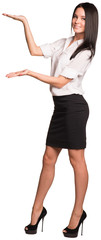 Beautiful businesswomen standing and showing empty palms