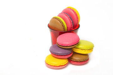 Colorful macaroons on white background