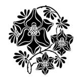 Black and white round vignette in modernist style. poster