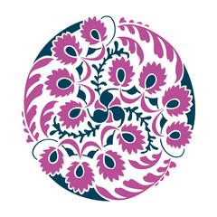 Floral decoration round vignette. Vector illustration