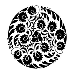 Black and white round vignette. Silhouette of thistle.